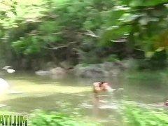 Dirty soldiers vidz wash off  super cum in the river