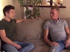Gays in vidz jeans fucking  super hard on the couch