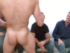 Twink cornered vidz by a  super stripper in a stag party