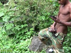 Brown soldier vidz strips naked  super by the stream