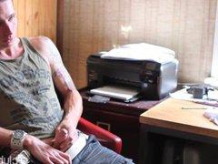 Tattooed Straight vidz Guy Chase  super Masturbating