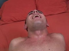 Twink sex vidz Laying on  super the bed, his legs