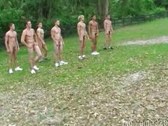 Outdoor exercising vidz in a  super twink camp