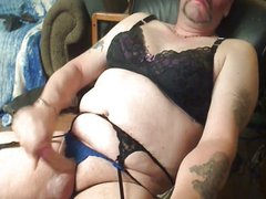 Crossdresser jerks vidz off in  super lingerie