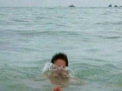 Wet JJ vidz and Xavier  super lie in water