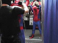 Twink spiderman vidz molested by  super biker