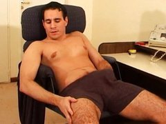 Lonely cock vidz stroke in  super office