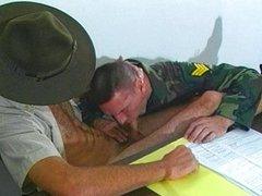 Drill sergeant vidz cock sucked  super in his office
