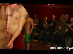 Bound gay vidz dick jerked  super off at Xmas party