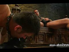 Chained gay vidz made to  super suck huge dick