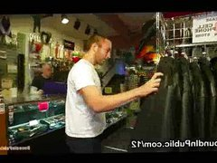 Gay gets vidz bound in  super clothing shop