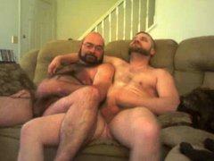 Two bears vidz wanking on  super sofa