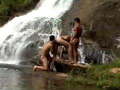 three latin vidz hunks fuck  super under a waterfall