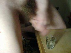 Releasing huge vidz load into  super shot glass