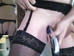 Trim shave vidz cock wear  super lingerie garter nylon stocking bra
