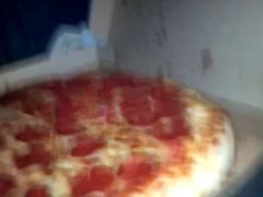 Massive cumshot vidz on young  super wifes pizza spunk all over her half