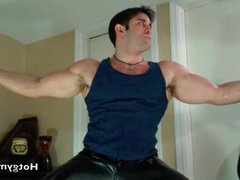 Leather Cum vidz with muscle  super stud in jockstrap!
