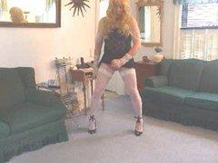 Crossdresser pink vidz lace panties  super jerk off