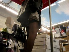 crossdresser upskirt vidz in the  super supermarket