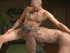 Tattooed ebony vidz gets bareback  super slammed by a white cock.