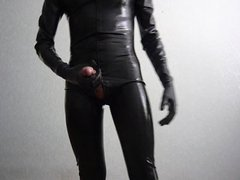 Masturbation in vidz latex catsuit
