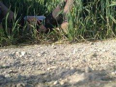 Crossdresser wanking vidz in a  super wheat field