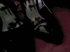 Cumming on vidz Black Heels