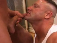 Young man vidz eats daddy's  super cum on the stairs.