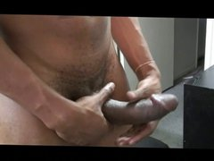 Big dick vidz black dude  super rubs his big shaved black shaft solo on camera