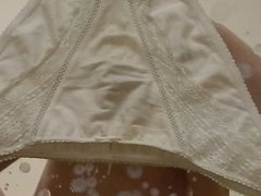 Huge Cumshot vidz on Mother's  super Lacy Cotton Panties