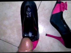 adoring sexy vidz peep toe  super shoes with a cumshot