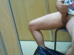 stroking my vidz cock in  super a dressing room