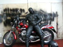 leather and vidz rubber masked  super motorcycle wank