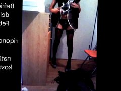 Maid in vidz stockings and  super high heels