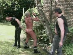 Outdoor male vidz slave bound  super and whipped by a cruel Masters