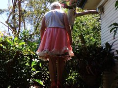 sissy ray vidz outdoors in  super pink sissy dress