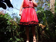 Sissy Ray vidz outdoors in  super red dress part 5