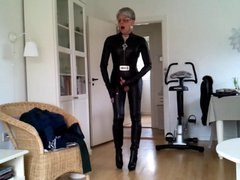 Sissy sexy vidz leather catsuit  super 1