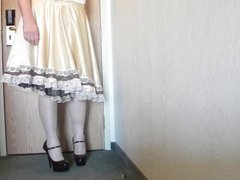 Sissy Ray vidz in Gold  super Sissy Dress and black and red heels