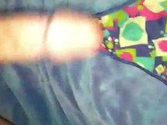 Cumming on vidz thong, wearing  super panties
