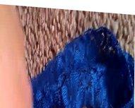 cum on vidz niece's blue  super thong panty