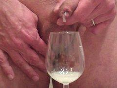 me jerking vidz big load  super trough foreskin, cum in wine glass