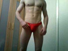 Red Thong vidz Muscle Man