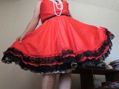 Sissy Ray vidz in Red  super Taffeta Skirt and gold petticoat