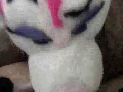 Female fursuiter vidz gives blowjob