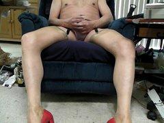 Pink panties, vidz heels, garter,  super nude rht stockings, and cum.