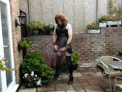 Aliosn wanking vidz in PVC  super Dress and Thigh Boots