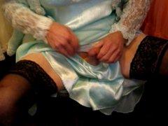 Dress-up to vidz cum in  super satin panties