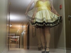 Sissy Ray vidz in Hotel  super Corridor in Sissy Dress and Sexy Heels