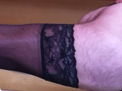 Stroking my vidz cock with  super panties and stockings on